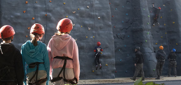 confidence building on the climbing wall